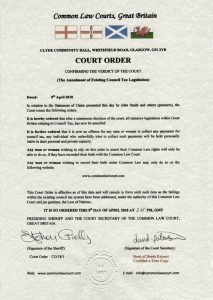 common law courts - great britain - court order council tax withdrawal
